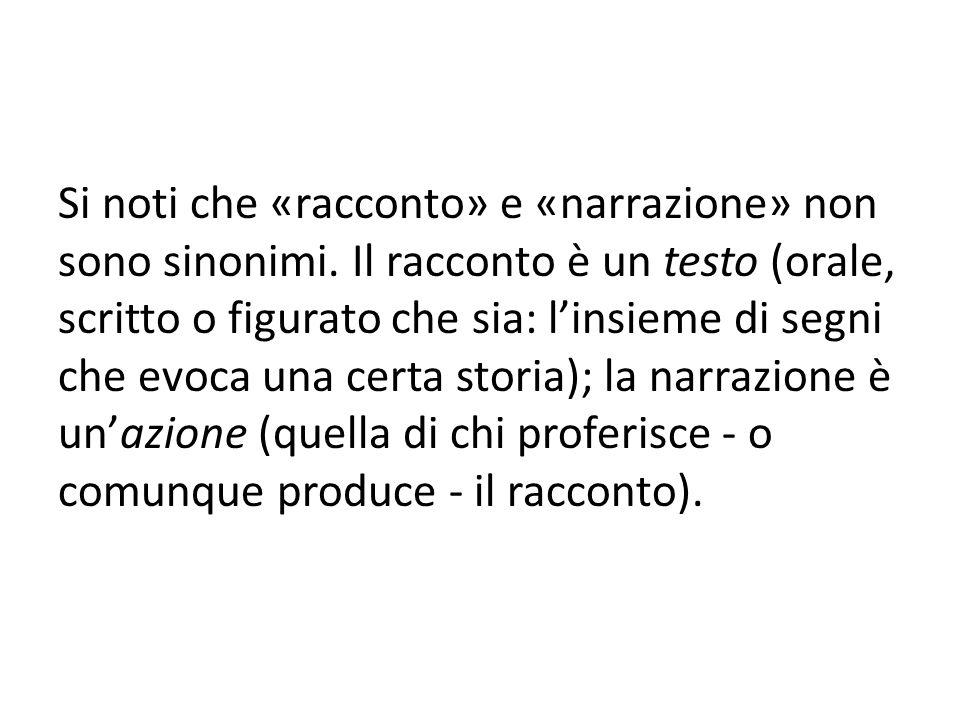 Si noti che «racconto» e «narrazione» non sono sinonimi.