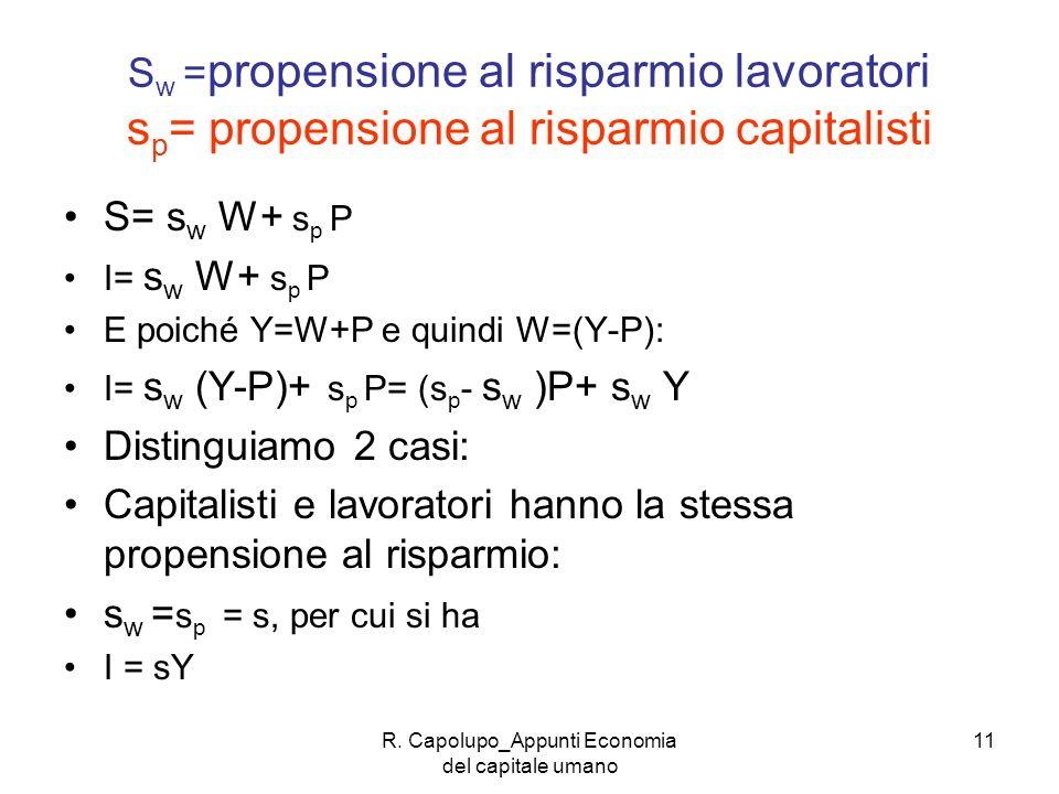 R. Capolupo_Appunti Economia del capitale umano 11 S w = propensione al risparmio lavoratori s p = propensione al risparmio capitalisti S= s w W+ s p