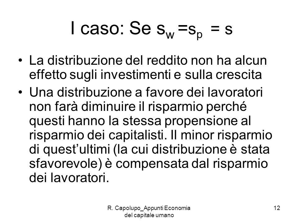 R. Capolupo_Appunti Economia del capitale umano 12 I caso: Se s w = s p = s La distribuzione del reddito non ha alcun effetto sugli investimenti e sul