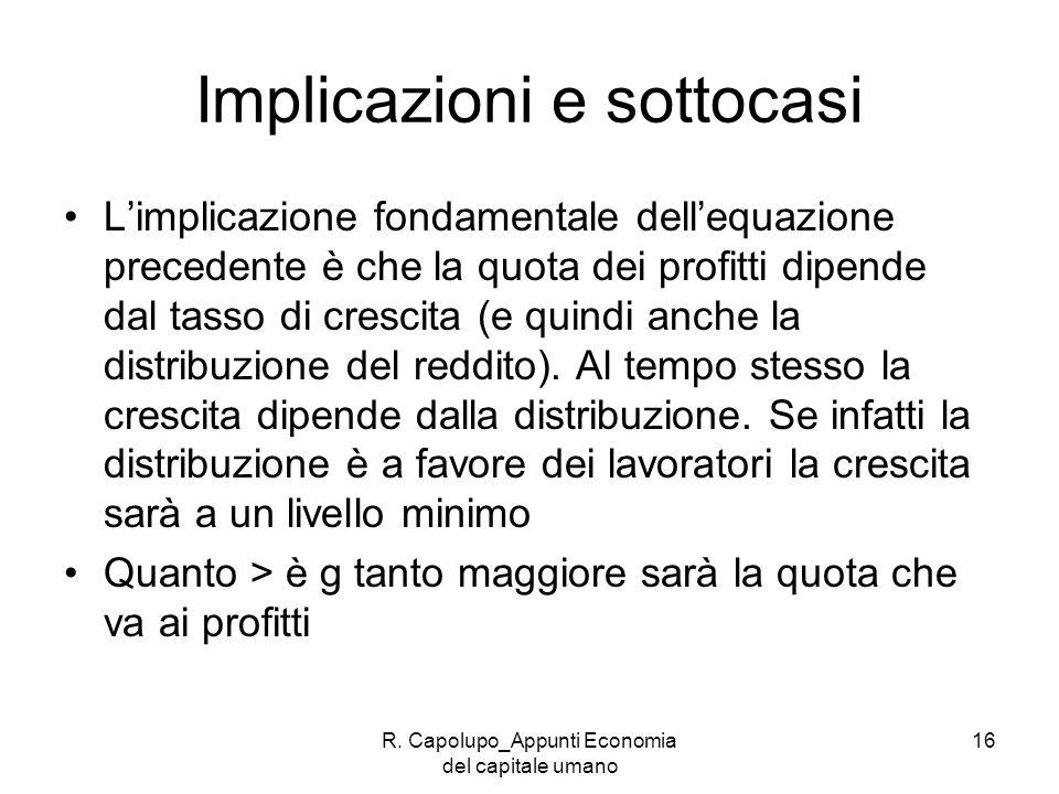 R. Capolupo_Appunti Economia del capitale umano 16 Implicazioni e sottocasi Limplicazione fondamentale dellequazione precedente è che la quota dei pro