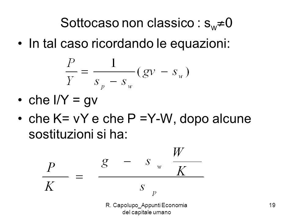 R. Capolupo_Appunti Economia del capitale umano 19 Sottocaso non classico : s w 0 In tal caso ricordando le equazioni: che I/Y = gv che K= vY e che P