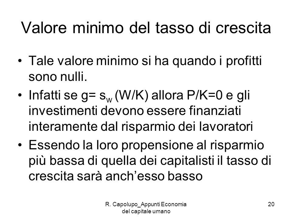 R. Capolupo_Appunti Economia del capitale umano 20 Valore minimo del tasso di crescita Tale valore minimo si ha quando i profitti sono nulli. Infatti
