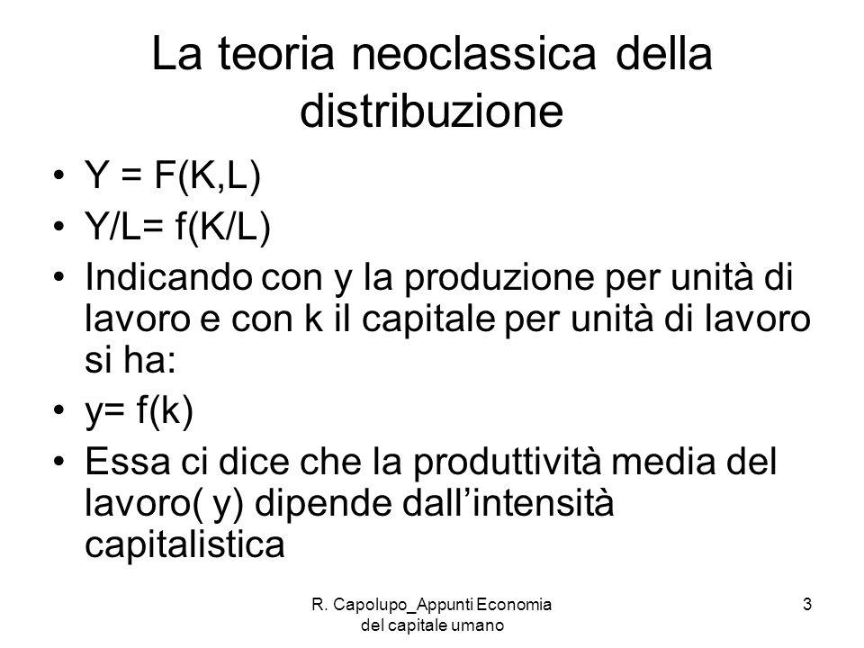 R. Capolupo_Appunti Economia del capitale umano 3 La teoria neoclassica della distribuzione Y = F(K,L) Y/L= f(K/L) Indicando con y la produzione per u