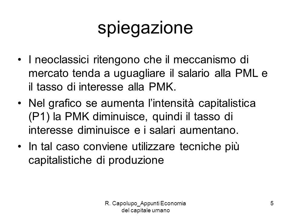 R. Capolupo_Appunti Economia del capitale umano 5 spiegazione I neoclassici ritengono che il meccanismo di mercato tenda a uguagliare il salario alla