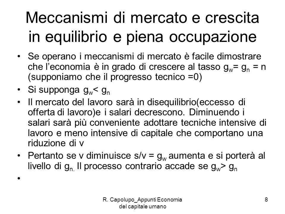 R. Capolupo_Appunti Economia del capitale umano 8 Meccanismi di mercato e crescita in equilibrio e piena occupazione Se operano i meccanismi di mercat