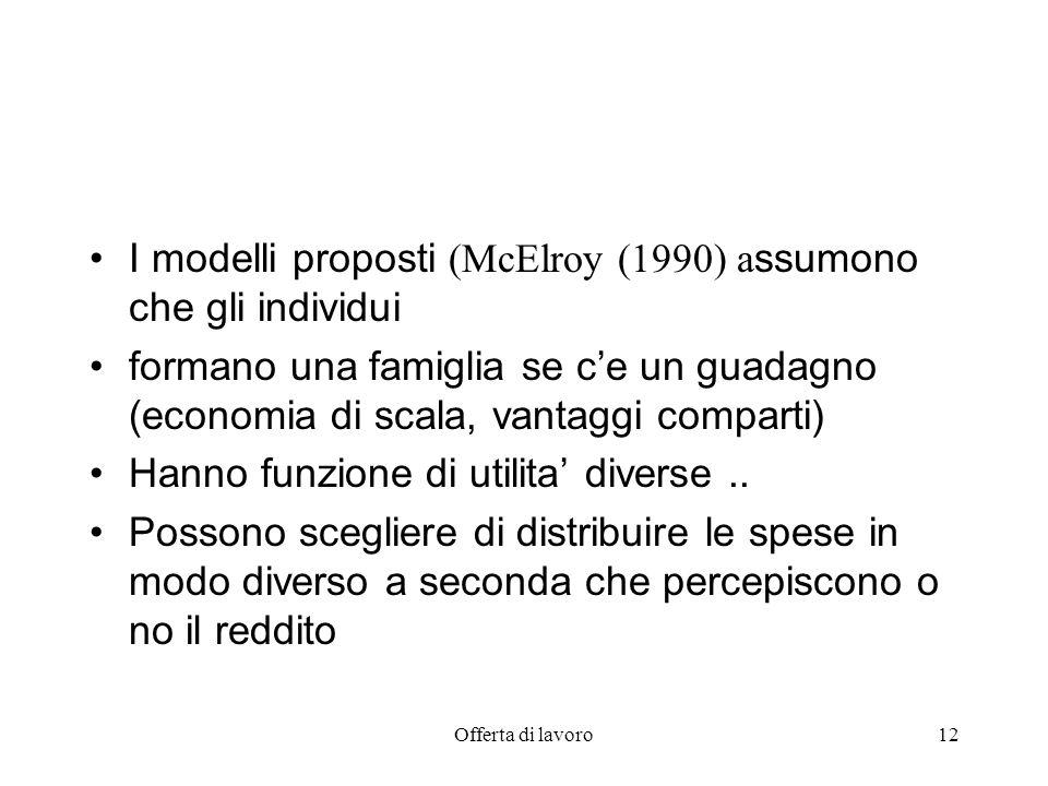 Offerta di lavoro12 I modelli proposti (McElroy (1990) a ssumono che gli individui formano una famiglia se ce un guadagno (economia di scala, vantaggi