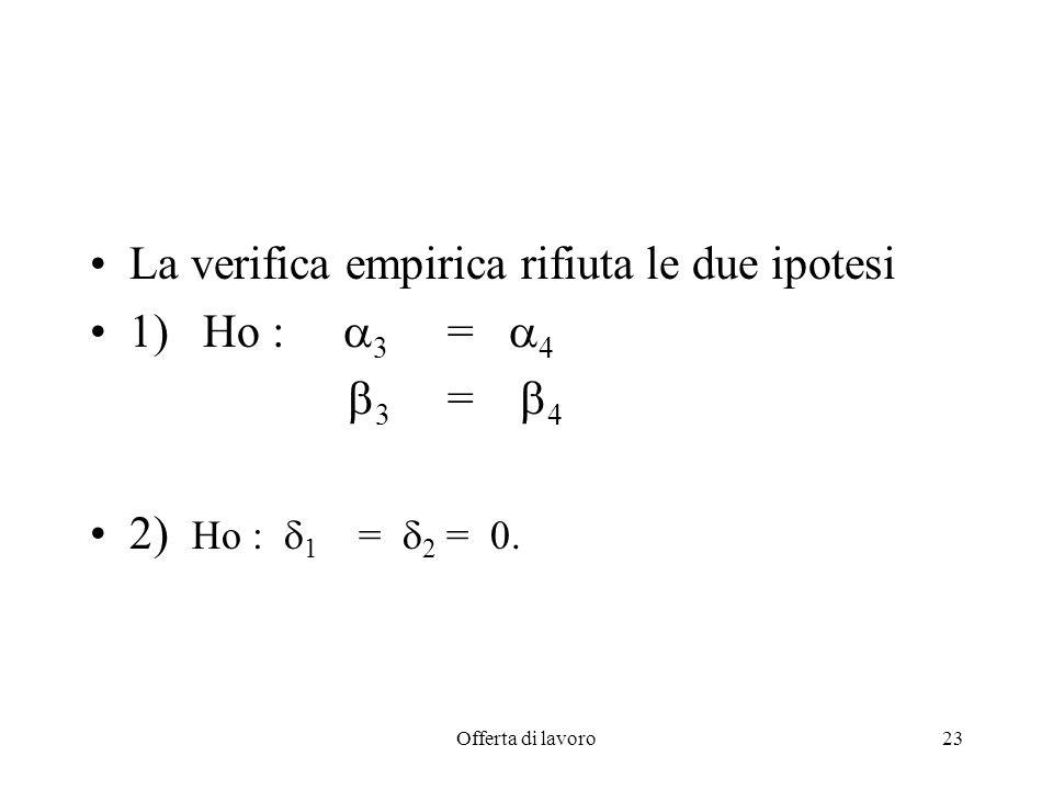 Offerta di lavoro23 La verifica empirica rifiuta le due ipotesi 1) Ho : 3 = 4 3 = 4 2) Ho : 1 = 2 = 0.