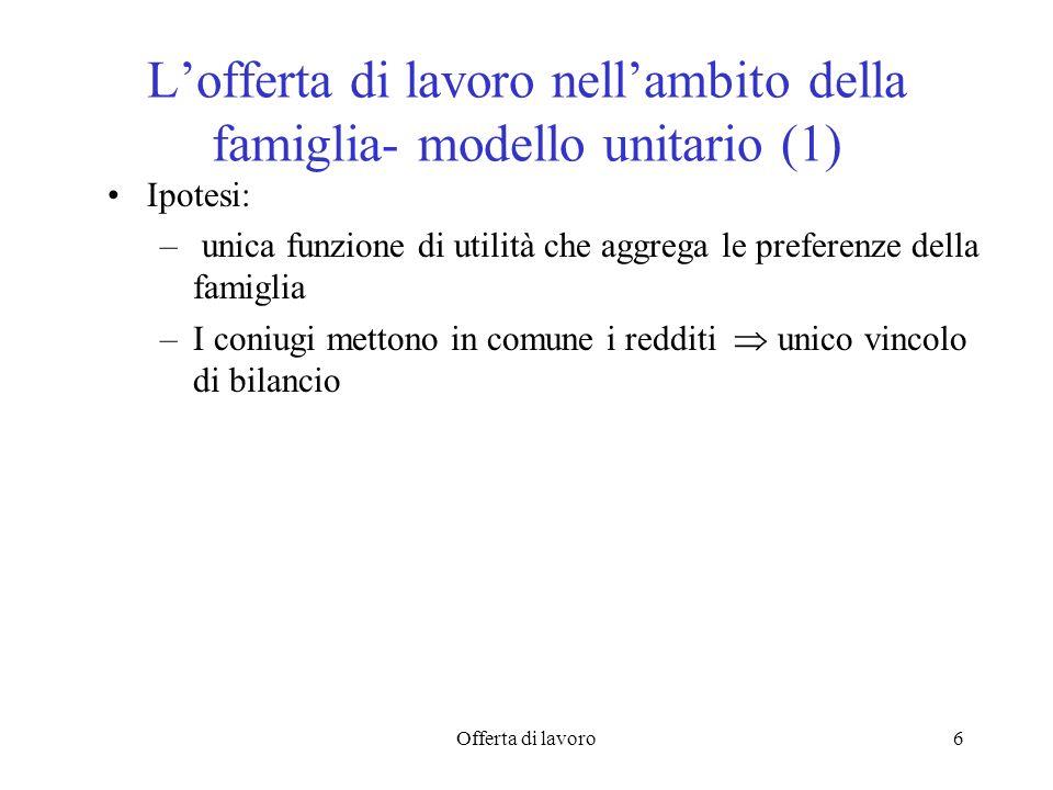 Offerta di lavoro6 Lofferta di lavoro nellambito della famiglia- modello unitario (1) Ipotesi: – unica funzione di utilità che aggrega le preferenze d