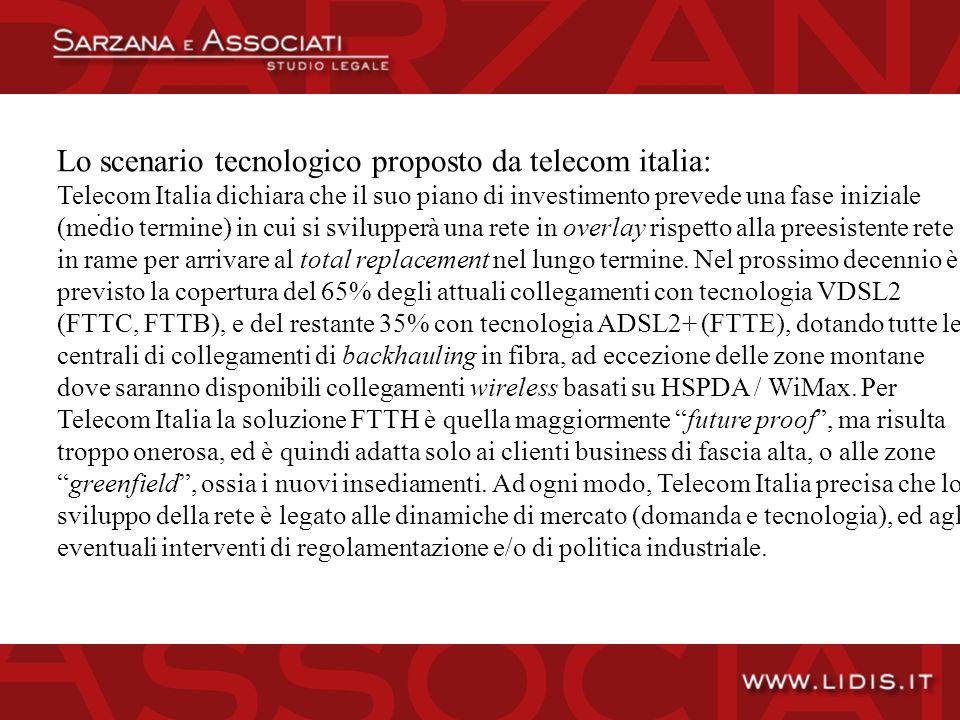 Lo scenario tecnologico proposto da telecom italia: Telecom Italia dichiara che il suo piano di investimento prevede una fase iniziale (medio termine) in cui si svilupperà una rete in overlay rispetto alla preesistente rete in rame per arrivare al total replacement nel lungo termine.