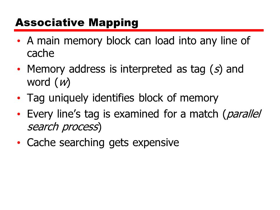 Associative Mapping A main memory block can load into any line of cache Memory address is interpreted as tag (s) and word (w) Tag uniquely identifies