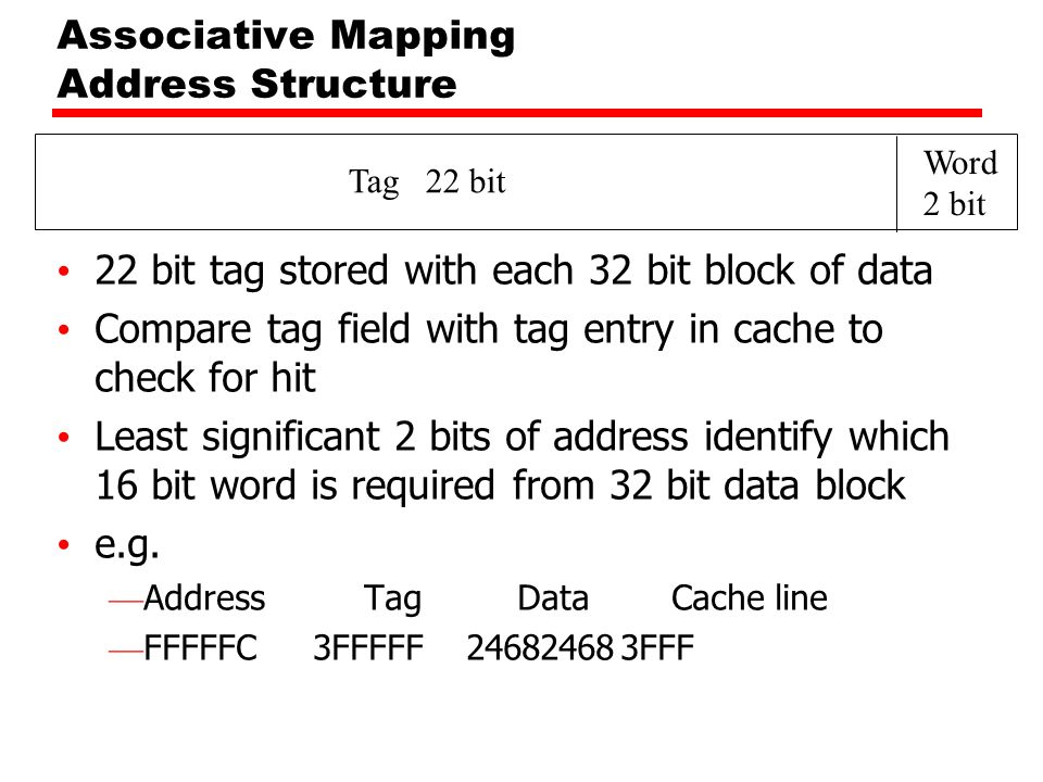 Tag 22 bit Word 2 bit Associative Mapping Address Structure 22 bit tag stored with each 32 bit block of data Compare tag field with tag entry in cache