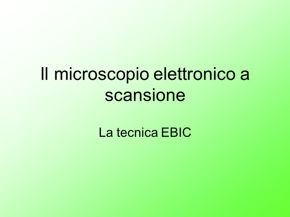 Il microscopio elettronico a scansione La tecnica EBIC