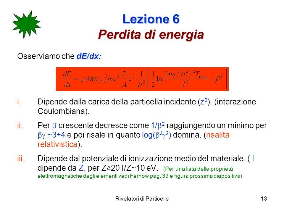 Rivelatori di Particelle13 Lezione 6 Perdita di energia dE/dx: Osserviamo che dE/dx: i.Dipende dalla carica della particella incidente (z 2 ). (intera