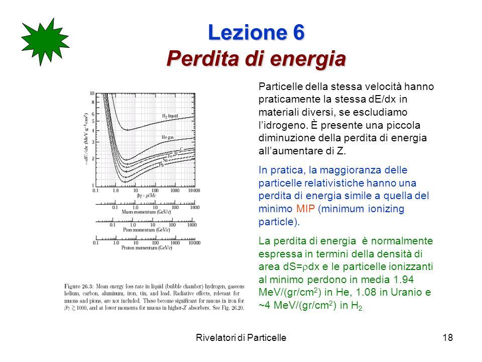 Rivelatori di Particelle18 Lezione 6 Perdita di energia Particelle della stessa velocità hanno praticamente la stessa dE/dx in materiali diversi, se e