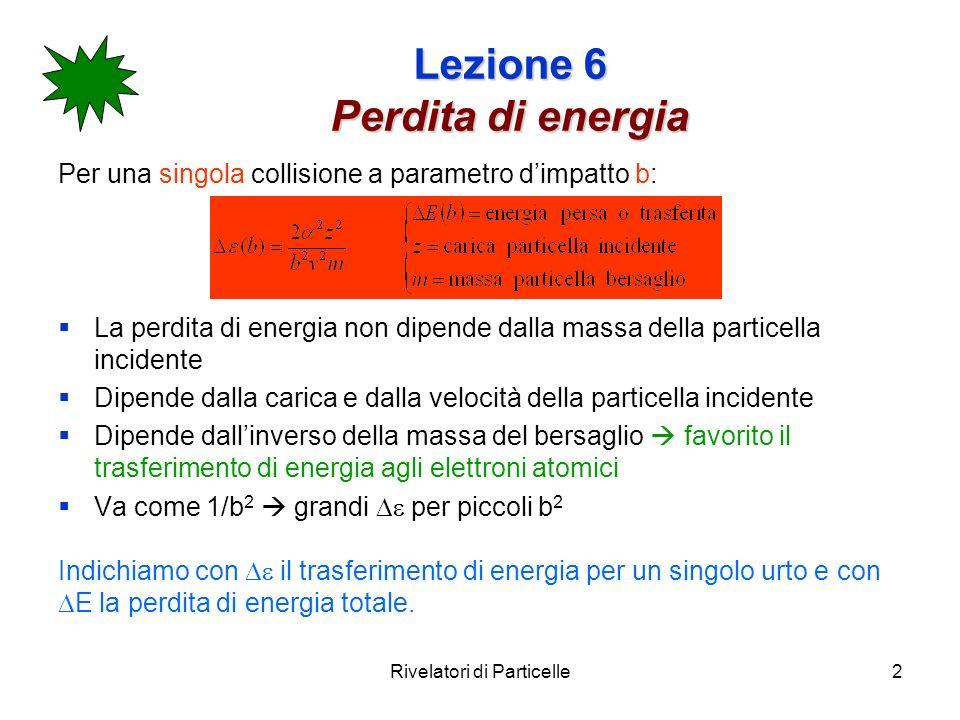 Rivelatori di Particelle2 Lezione 6 Perdita di energia Per una singola collisione a parametro dimpatto b: La perdita di energia non dipende dalla mass