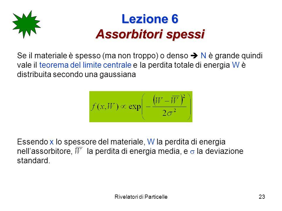 Rivelatori di Particelle23 Lezione 6 Assorbitori spessi Se il materiale è spesso (ma non troppo) o denso N è grande quindi vale il teorema del limite