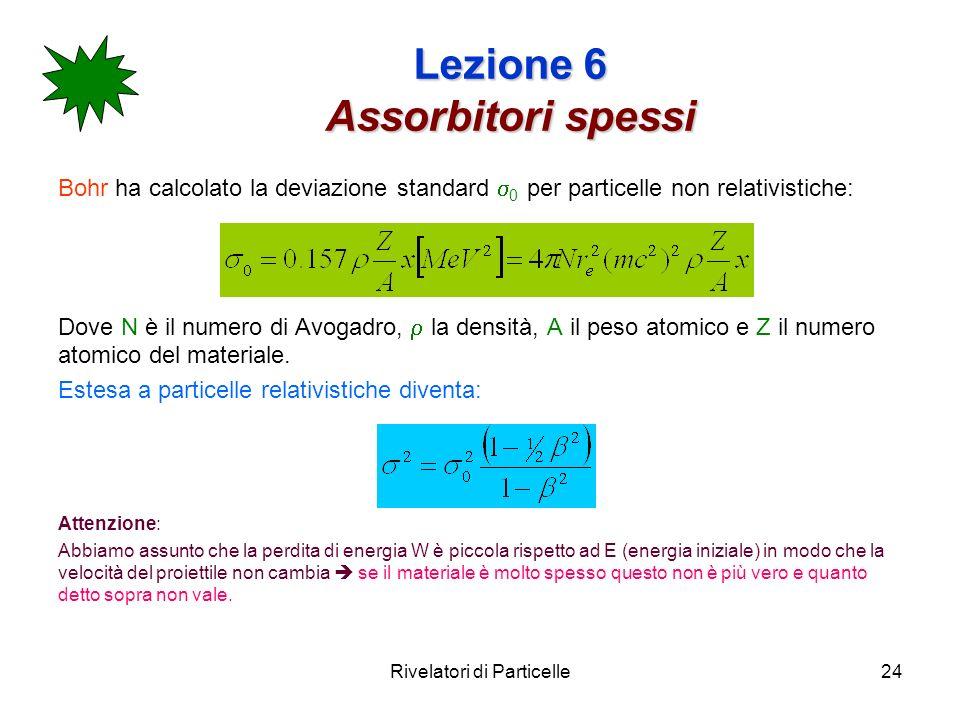 Rivelatori di Particelle24 Lezione 6 Assorbitori spessi Bohr ha calcolato la deviazione standard 0 per particelle non relativistiche: Dove N è il nume