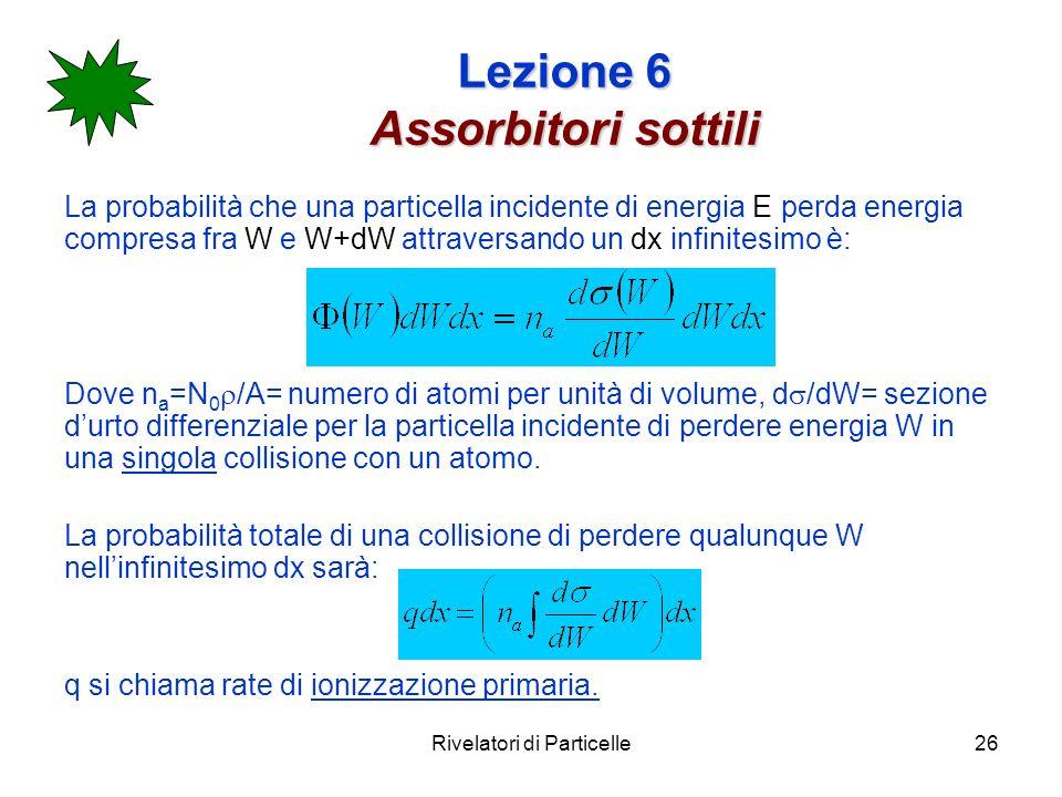 Rivelatori di Particelle26 Lezione 6 Assorbitori sottili La probabilità che una particella incidente di energia E perda energia compresa fra W e W+dW