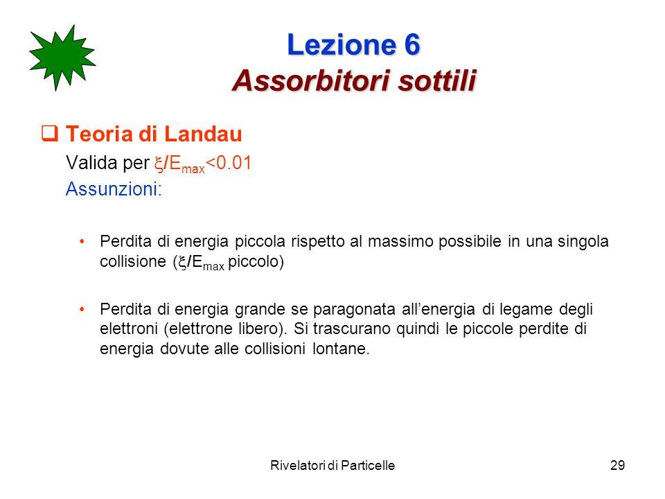Rivelatori di Particelle29 Lezione 6 Assorbitori sottili Teoria di Landau Valida per /E max <0.01 Assunzioni: Perdita di energia piccola rispetto al m
