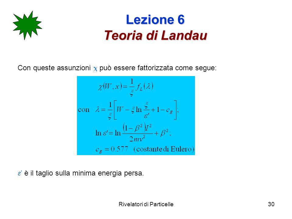 Rivelatori di Particelle30 Lezione 6 Teoria di Landau Con queste assunzioni può essere fattorizzata come segue: è il taglio sulla minima energia persa