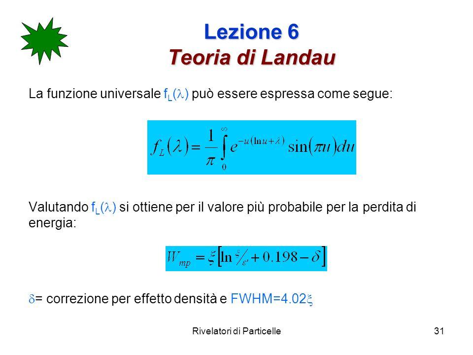 Rivelatori di Particelle31 Lezione 6 Teoria di Landau La funzione universale f L ( ) può essere espressa come segue: Valutando f L ( ) si ottiene per