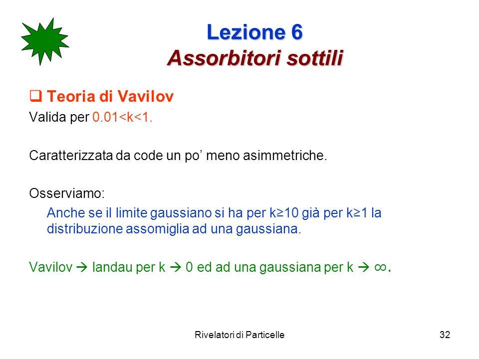 Rivelatori di Particelle32 Lezione 6 Assorbitori sottili Teoria di Vavilov Valida per 0.01<k<1. Caratterizzata da code un po meno asimmetriche. Osserv