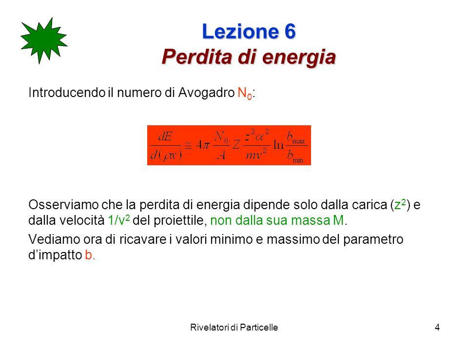 Rivelatori di Particelle4 Lezione 6 Perdita di energia Introducendo il numero di Avogadro N 0 : Osserviamo che la perdita di energia dipende solo dall