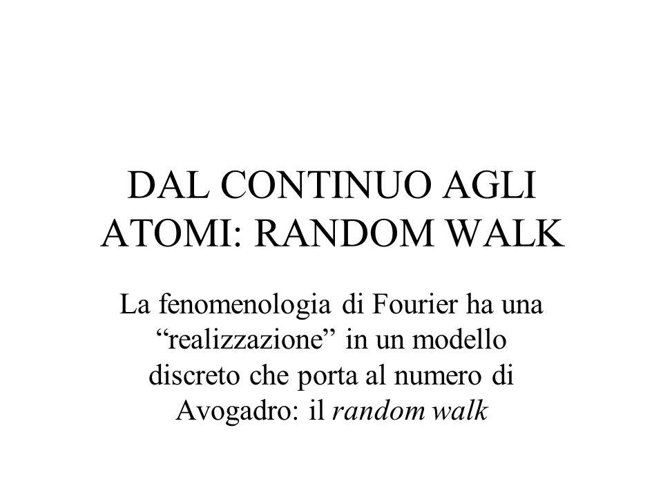 DAL CONTINUO AGLI ATOMI: RANDOM WALK La fenomenologia di Fourier ha una realizzazione in un modello discreto che porta al numero di Avogadro: il rando