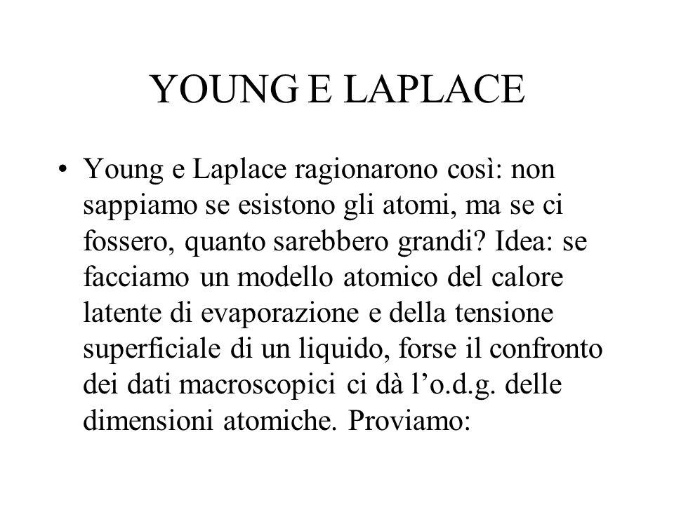 YOUNG E LAPLACE Young e Laplace ragionarono così: non sappiamo se esistono gli atomi, ma se ci fossero, quanto sarebbero grandi? Idea: se facciamo un
