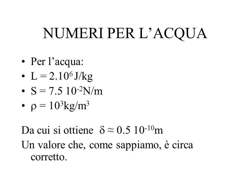NUMERI PER LACQUA Per lacqua: L = 2.10 6 J/kg S = 7.5 10 -2 N/m = 10 3 kg/m 3 Da cui si ottiene 0.5 10 -10 m Un valore che, come sappiamo, è circa cor