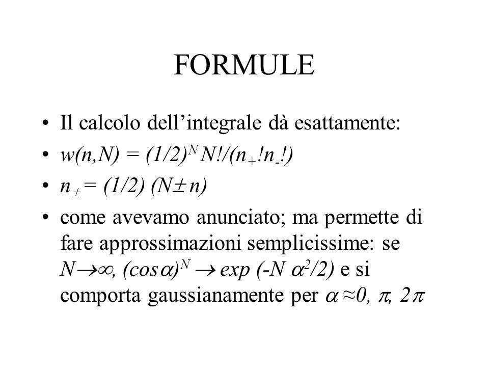 APPROSSIMAZIONE GAUSSIANA Per cui, come si trova su ogni libro di tavole di integrali (ma è facile da fare nel piano complesso con tecniche di residui): w(n, N) 1/(2πN)exp(-n 2 /2N) La classica distribuzione a campana, gaussiana, in cui il valor quadratico medio della larghezza è: = N Banalmente, se sommiamo i passi unitari = = k ( k ) 2 = N se k = 1 con uguale probabilità 1/2