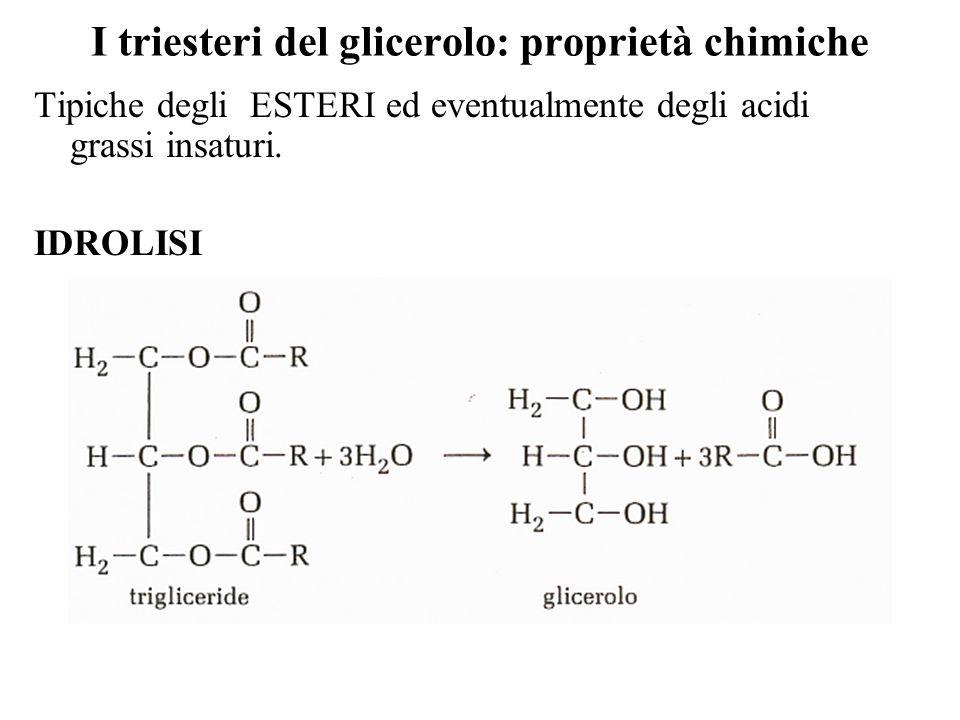 I triesteri del glicerolo: proprietà chimiche Tipiche degli ESTERI ed eventualmente degli acidi grassi insaturi.