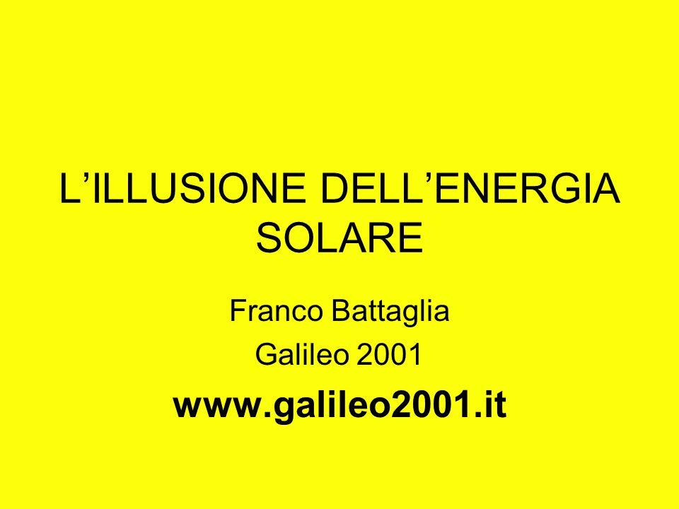 LILLUSIONE DELLENERGIA SOLARE Franco Battaglia Galileo 2001 www.galileo2001.it