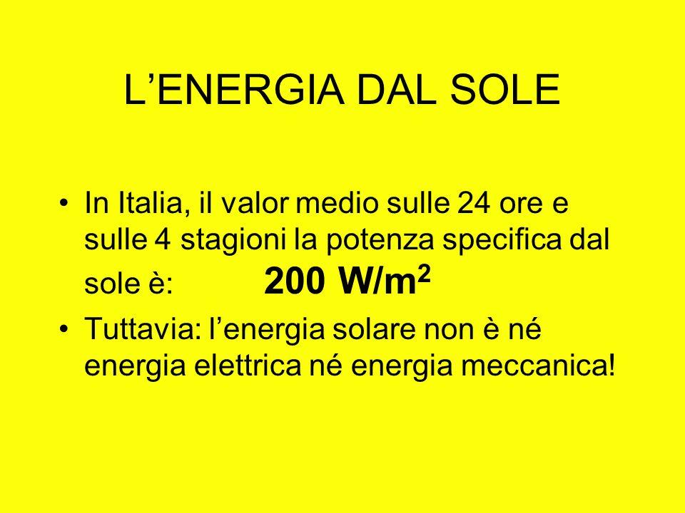 LENERGIA DAL SOLE In Italia, il valor medio sulle 24 ore e sulle 4 stagioni la potenza specifica dal sole è: 200 W/m 2 Tuttavia: lenergia solare non è