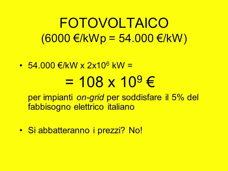 FOTOVOLTAICO (6000 /kWp = 54.000 /kW) 54.000 /kW x 2x10 6 kW = = 108 x 10 9 per impianti on-grid per soddisfare il 5% del fabbisogno elettrico italiano Si abbatteranno i prezzi.