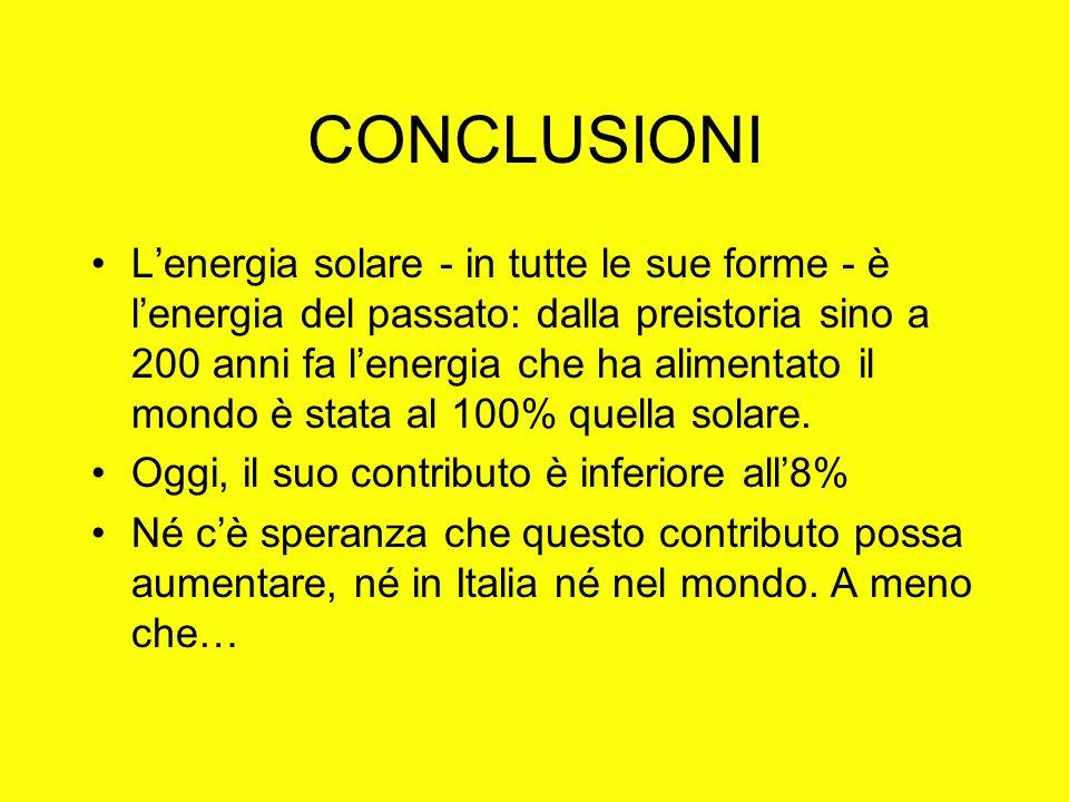 CONCLUSIONI Lenergia solare - in tutte le sue forme - è lenergia del passato: dalla preistoria sino a 200 anni fa lenergia che ha alimentato il mondo è stata al 100% quella solare.