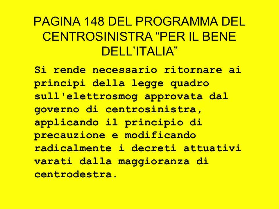 PAGINA 148 DEL PROGRAMMA DEL CENTROSINISTRA PER IL BENE DELLITALIA Si rende necessario ritornare ai principi della legge quadro sull'elettrosmog appro