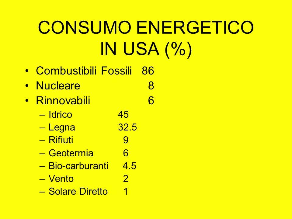 CONSUMO ENERGETICO IN USA (%) Combustibili Fossili 86 Nucleare 8 Rinnovabili 6 –Idrico 45 –Legna 32.5 –Rifiuti 9 –Geotermia 6 –Bio-carburanti 4.5 –Vento 2 –Solare Diretto 1