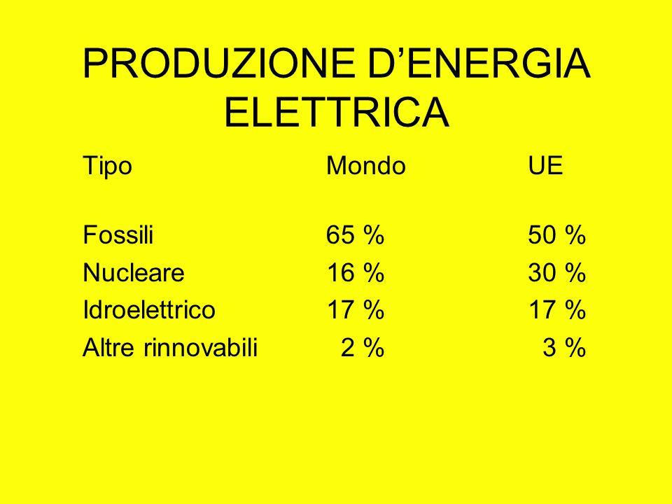 PRODUZIONE DENERGIA ELETTRICA Tipo Mondo UE Fossili 65 % 50 % Nucleare 16 % 30 % Idroelettrico 17 % 17 % Altre rinnovabili 2 % 3 %
