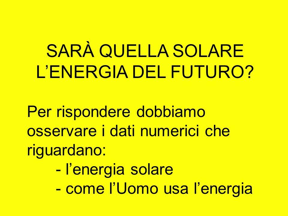 SARÀ QUELLA SOLARE LENERGIA DEL FUTURO? Per rispondere dobbiamo osservare i dati numerici che riguardano: - lenergia solare - come lUomo usa lenergia