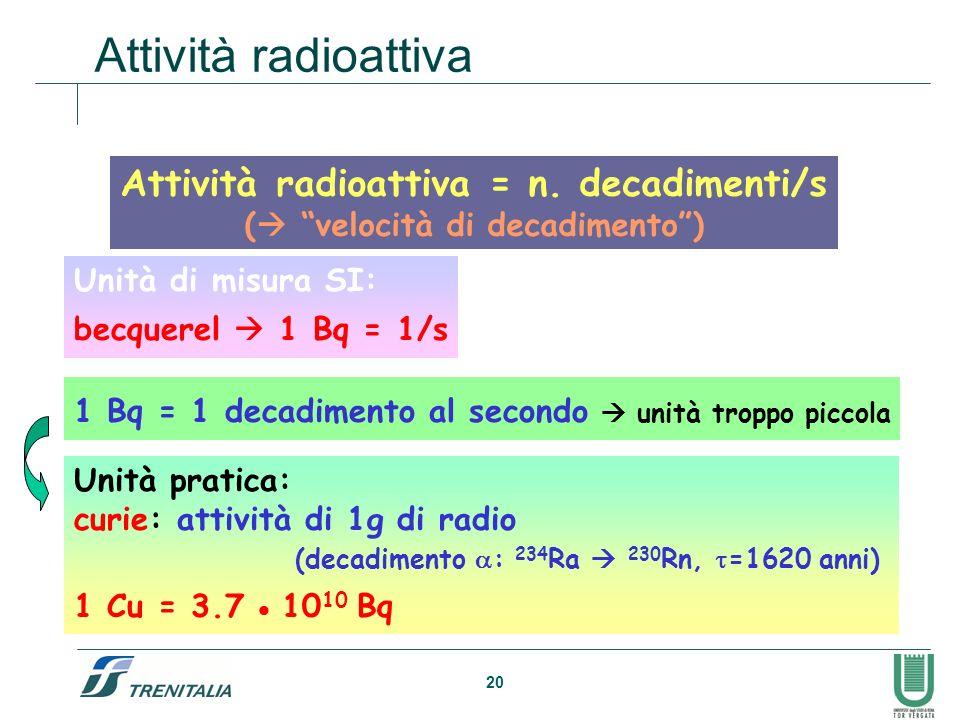 20 Attività radioattiva Attività radioattiva = n. decadimenti/s ( velocità di decadimento) Unità di misura SI: becquerel 1 Bq = 1/s 1 Bq = 1 decadimen