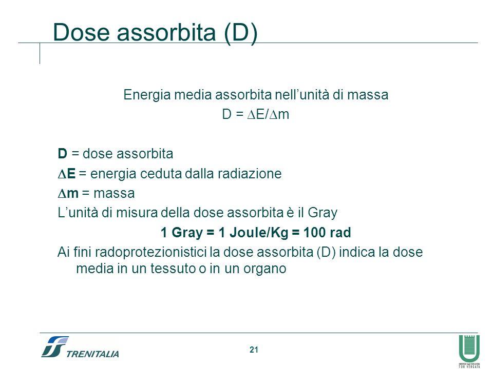 21 Dose assorbita (D) Energia media assorbita nellunità di massa D = E/ m D = dose assorbita E = energia ceduta dalla radiazione m = massa Lunità di m