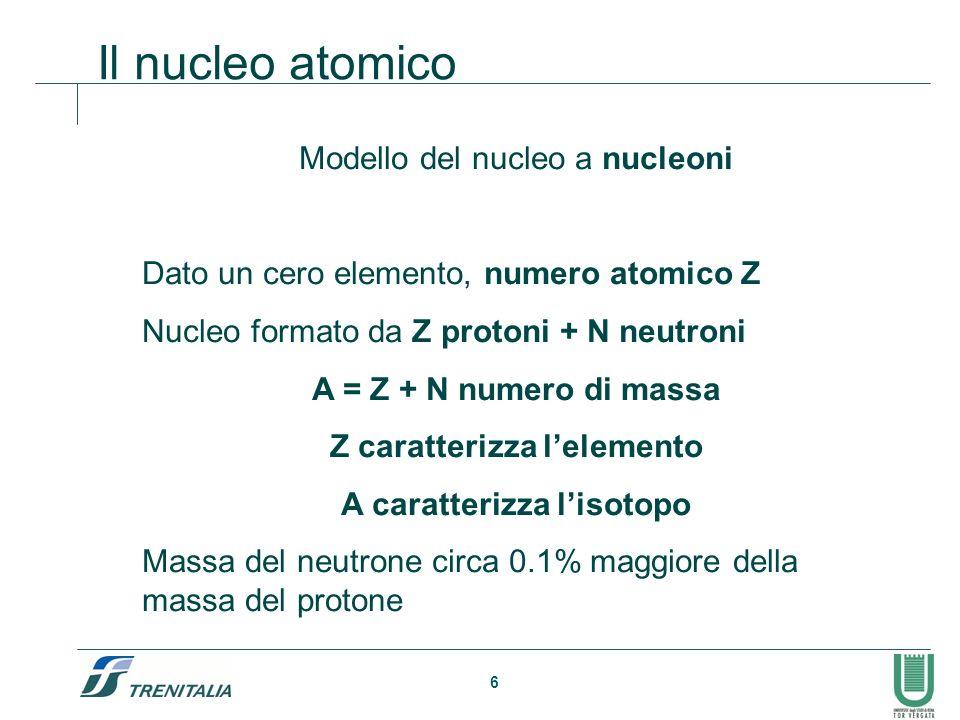 6 Il nucleo atomico Modello del nucleo a nucleoni Dato un cero elemento, numero atomico Z Nucleo formato da Z protoni + N neutroni A = Z + N numero di