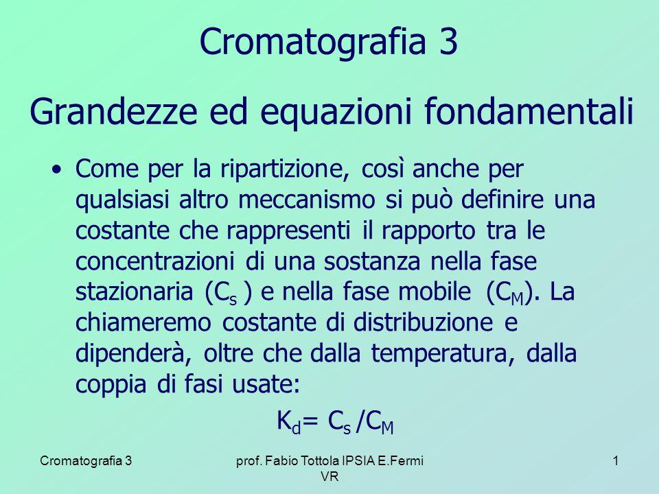 Cromatografia 3prof. Fabio Tottola IPSIA E.Fermi VR 1 Grandezze ed equazioni fondamentali Come per la ripartizione, così anche per qualsiasi altro mec