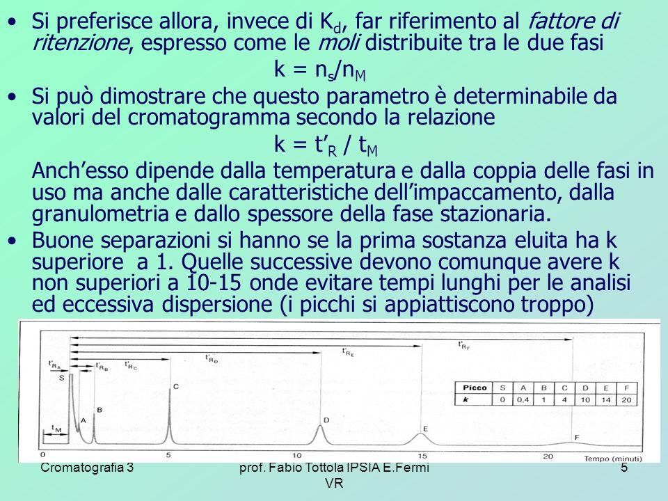 Cromatografia 3prof. Fabio Tottola IPSIA E.Fermi VR 5 Si preferisce allora, invece di K d, far riferimento al fattore di ritenzione, espresso come le