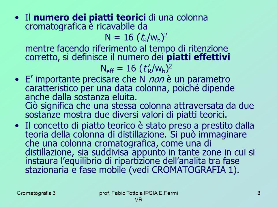 Cromatografia 3prof. Fabio Tottola IPSIA E.Fermi VR 8 Il numero dei piatti teorici di una colonna cromatografica è ricavabile da N = 16 (t R /w b ) 2