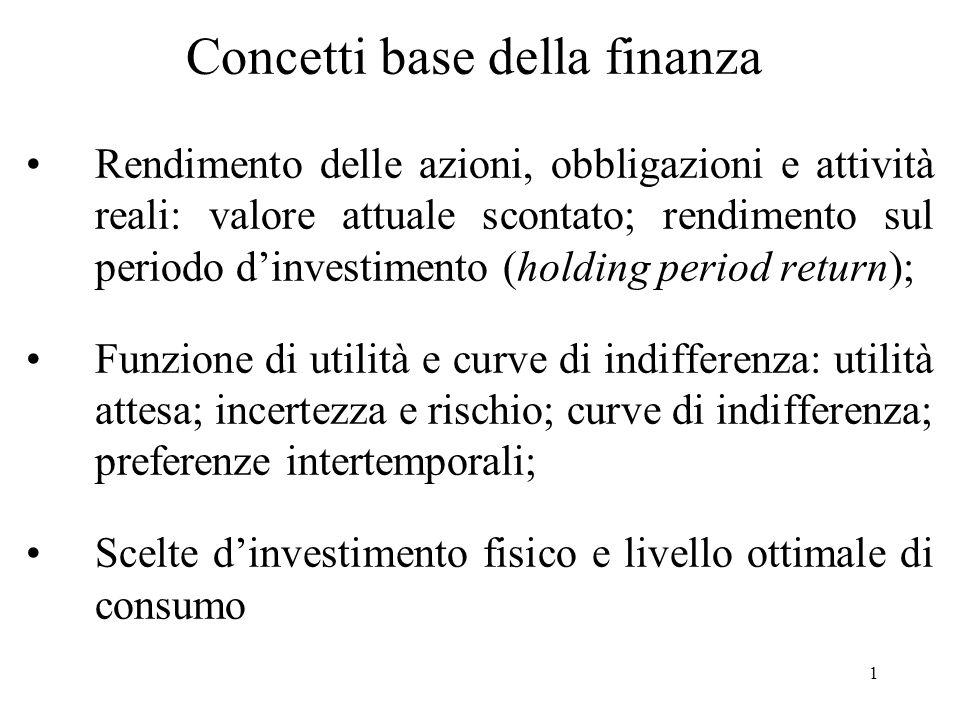 1 Concetti base della finanza Rendimento delle azioni, obbligazioni e attività reali: valore attuale scontato; rendimento sul periodo dinvestimento (h