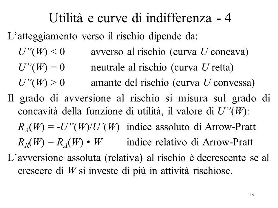 19 Utilità e curve di indifferenza - 4 Latteggiamento verso il rischio dipende da: U(W) < 0 avverso al rischio (curva U concava) U(W) = 0 neutrale al