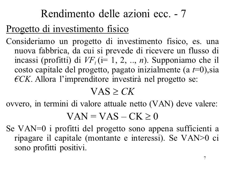 7 Rendimento delle azioni ecc. - 7 Progetto di investimento fisico Consideriamo un progetto di investimento fisico, es. una nuova fabbrica, da cui si
