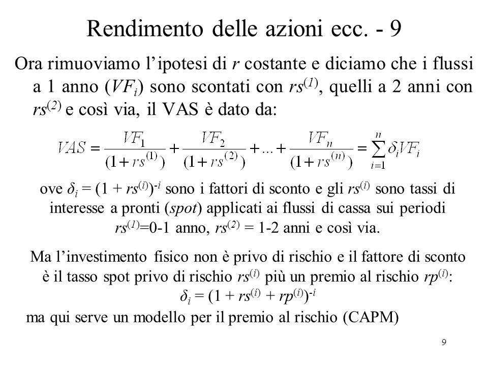 9 Rendimento delle azioni ecc. - 9 Ora rimuoviamo lipotesi di r costante e diciamo che i flussi a 1 anno (VF i ) sono scontati con rs (1), quelli a 2